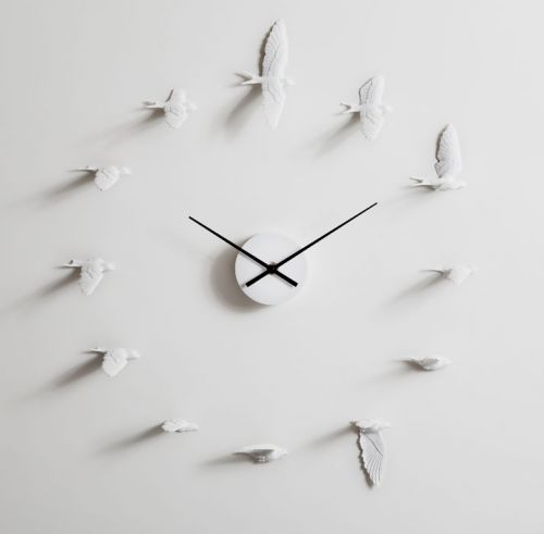 swallow clock, horloge murale